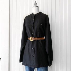 Marsh Landing Linen Black Tunic Button Down Top
